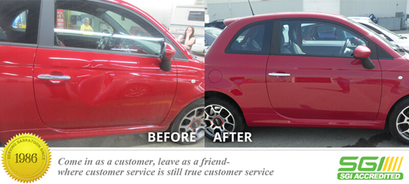 Red Coupe dent removal